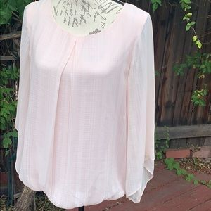 sheer lined pink blouse AGB medium polyester long